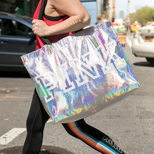HUGE Holographic VS Pink Tote Bag Purse